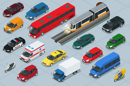 Car icons. Flat 3d isometric high quality city transport car icon set. Car, van, cargo truck,  off-road, bus, scooter, motorbike, riders. Transport set. Set of urban public and freight transport Ilustração