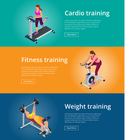 adjustable dumbbell: Banner set Fitness woman working out on exercise bike, Young woman with barbell flexing muscles, Pretty girl working out in a treadmill at the gym. Flat 3d isometric vector Illustration