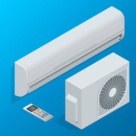 acclimatization: Air conditioner system. Flat 3d isometric vector illustration