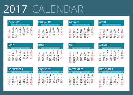 personal assistant: Calendar for 2017. Week Starts Sunday. Simple Vector design
