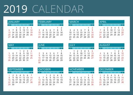 personal data assistant: Calendar for 2019. Week Starts Sunday. Simple Vector design