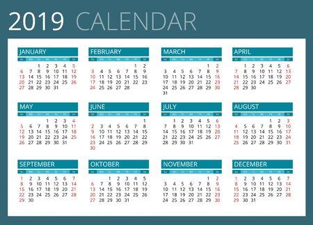 week: Calendar for 2019. Week Starts Sunday. Simple Vector design