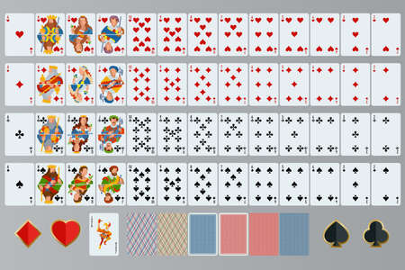 queen of clubs: Playing cards set. Poker cards full set Illustration