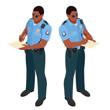 detain: Policeman in uniform. Policeman icon. Policeman vector