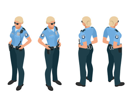 duty belt: Police woman in uniform. Police woman icon. Police woman vector. Police woman isometric