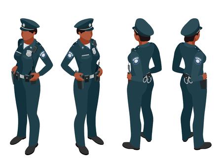 handcuffs woman: Police woman in uniform. Police woman icon. Police woman vector. Police woman isometric