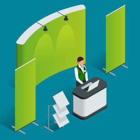 Promotion Zähler gesetzt. Messestand. Blank Vektor-Plakat. Wohnung 3D-Vektor-isometrische Darstellung