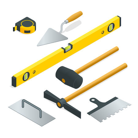 putty knife: Collection of most common types of masonry tools. Flat 3d isometric vector illustration