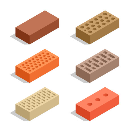 Bricks isolated on white. Brick icon set. Flat 3d isometric vector illustration