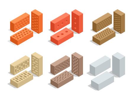 Bricks isolated on white. Brick icon set. Flat 3d isometric vector illustration
