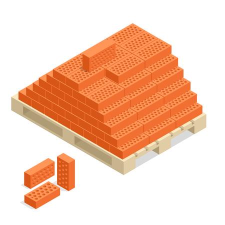 building material: Bricks on pallet. Bricks building material. 3d flat vector isometric illustration