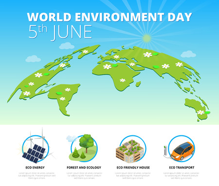 generators: World environment day concept.  Saving nature and ecology concept. Vector linear trees, electric car, alternative energy generators. Design for save earth day Illustration