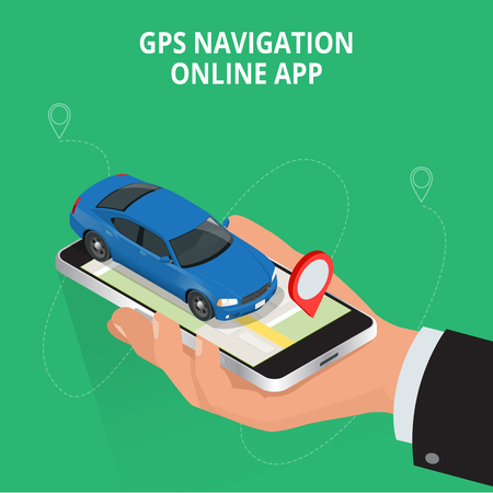 Mobile GPS navigation, travel and tourism concept. View a map on the mobile phone on car and search GPS coordinates. Flat 3d vector isometric illustration