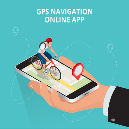 travel phone: Mobile GPS navigation, travel and tourism concept. View a map on the mobile phone on bike and search GPS coordinates.Flat 3d vector isometric illustration