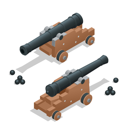 cannon gun: Ancient cannon with cannon balls. Artillery gun.  Old cannon Flat 3d vector isometric illustration. Illustration