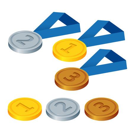 primer lugar: En primer lugar, el segundo lugar y tercer lugar. Conjunto de oro, plata y bronce en los símbolos. Piso 3d ilustración isométrica del vector