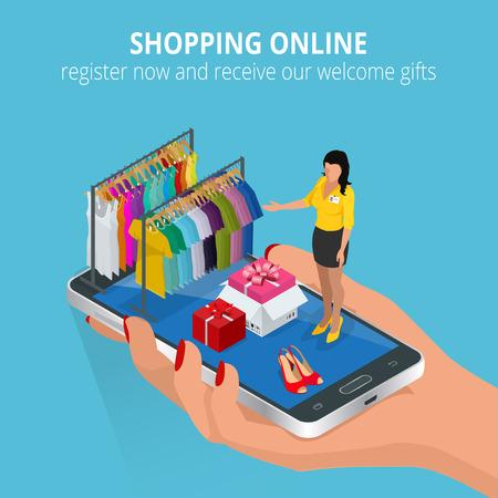 온라인 쇼핑. 모바일 스토어. 웹 및 휴대 전화 서비스 및 응용 프로그램에 대 한 평면 그림. 플랫 3D 벡터 아이소 메트릭 그림