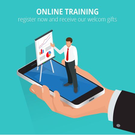 staff training: Education concept online training. Flat design concepts for online education, online training courses, staff training, retraining, specialization, university, tutorials