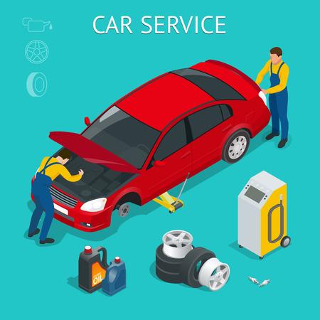 Car-servicecentrum. Het werkproces van het autodienst isometrisch met arbeiders die de auto en de verschillende hulpmiddelen rond vectorillustratie herstellen testen