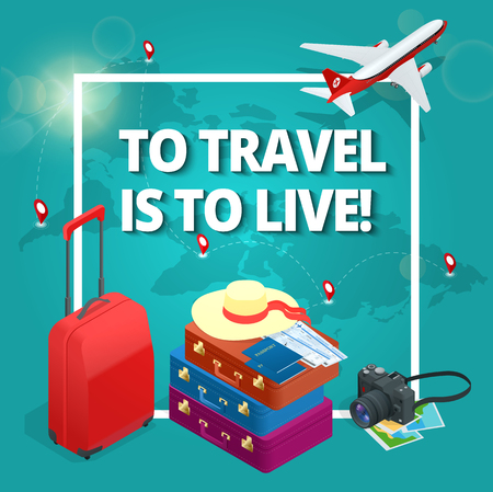 duffel: Travel concept. Travel bags, passport, foto camera and travel ticket and airplane in sky. Isometric flat 3d vector illustration