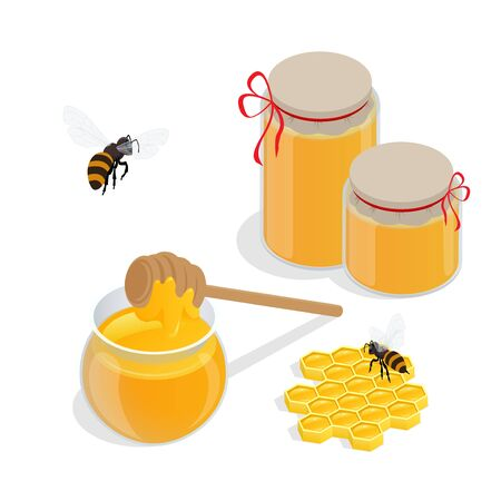 curative: Glass jar full of honey and wooden honey dipper vector illustrations. Apiary vector symbol. Bee, honey, honey bank, honeycomb. Honey natural healthy food production.
