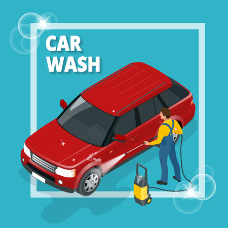 auto washing: Business concept car wash. Car wash, auto cleaner, washer shower service banner. Flat 3d vector isometric illustration Illustration