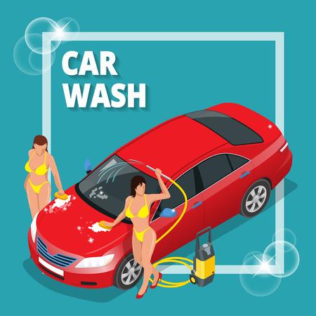 business service: Business concept car wash. Car wash, auto cleaner, washer shower service banner. Flat 3d vector isometric illustration Illustration