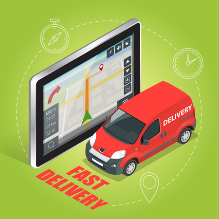 geolocation: Geolocation gps navigation touch screen tablet and Fast delivery service.  Fast shipping,  express delivery,  free delivery,  fast delivery icon. Flat 3d vector isometric illustration