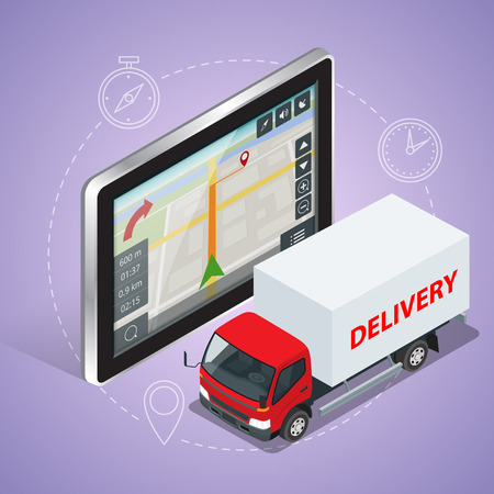 geolocation: GPS truck. Geolocation gps navigation touch screen tablet and Fast delivery service.  Fast shipping,  express delivery,  free delivery,  fast delivery icon. Flat 3d vector isometric illustration