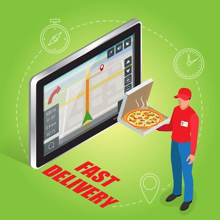 geolocation: Geolocation gps navigation touch screen tablet and Fast delivery service. Pizza delivery concept. Flat 3d vector isometric illustration Illustration