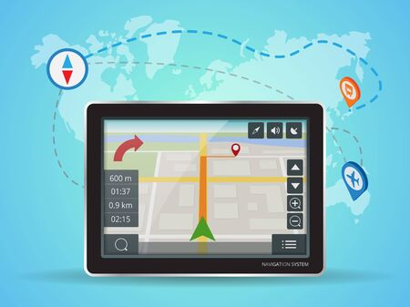 geolocation: Geolocation gps navigation touch screen tablet. World Map. Mobile GPS Navigation. Tablet PC. Mobile Technologies Concept. Illustration
