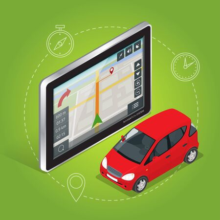 geolocation: Geolocation gps navigation touch screen tablet. Mobile GPS navigation concept. Flat 3d vector isometric illustration Illustration