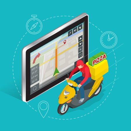 geolocation: Geolocation gps navigation touch screen tablet and Fast delivery service. Pizza delivery concept. Flat 3d vector isometric illustration.