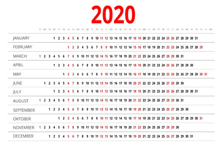 personal data assistant: Calendar for 2020. Week Starts Sunday. Simple Vector design