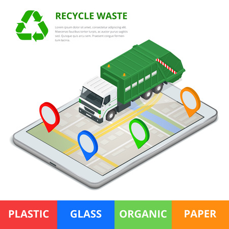 waste 3d: Recycle waste concept. Garbage disposal with gps navigation on city. Sorting garbage. Ecology and recycle concept. Flat 3d vector isometric illustration Illustration