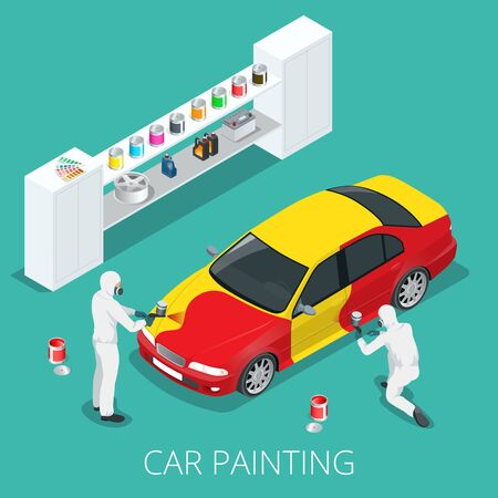 Auto mechanic Professional painting car in a paint chamber during repair work. Flat 3d vector isometric illustration.