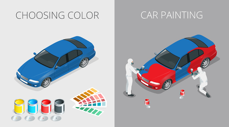 Auto mechanic Professional painting car in a paint chamber during repair work. Choosing color for painting car. Flat 3d vector isometric illustration. Vektoros illusztráció