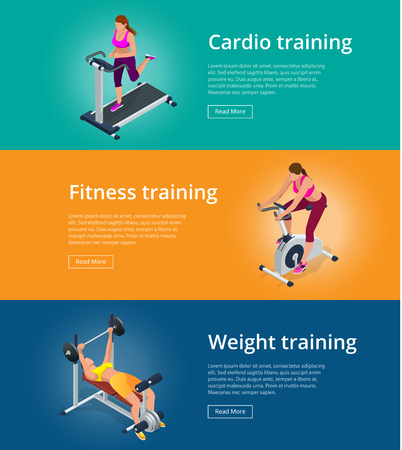 flexing muscles: Banner set Fitness woman working out on exercise bike, Young woman with barbell flexing muscles, Pretty girl working out in a treadmill at the gym. Flat 3d isometric vector illustration Illustration