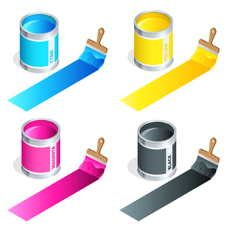 4 color printing: Bottles of ink in cmyk colors and paint brush on white isolated background. Flat 3d vector isometric illustration Illustration