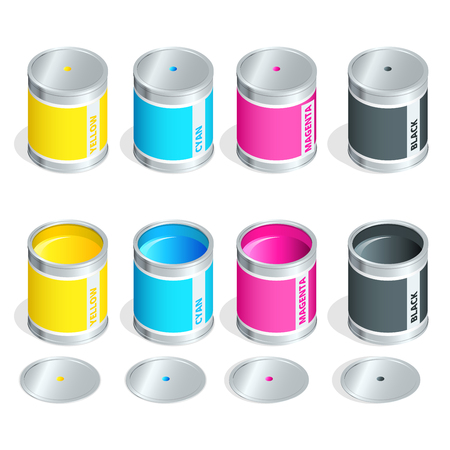 four color printing: Bottles of ink in cmyk colors on white isolated background. Flat 3d vector isometric illustration Illustration