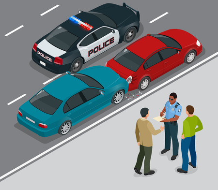 Auto accident involving two cars on a city street. Traffic policeman in car accident scene. Two Drivers Arguing After Traffic Collision. Flat 3d vector isometric illustration.