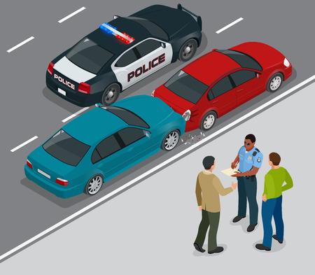 accidente automovilístico que involucra a dos coches en una calle de la ciudad. policía de tráfico en la escena de un accidente de coche. Dos conductores discuten después de colisión del tráfico. 3D isométrico ilustración vectorial plana. Ilustración de vector