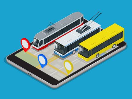 trolebús transporte público, autobús, tranvía. Aplicación Programación en línea para la tableta. 3D isométrico ilustración vectorial plana.