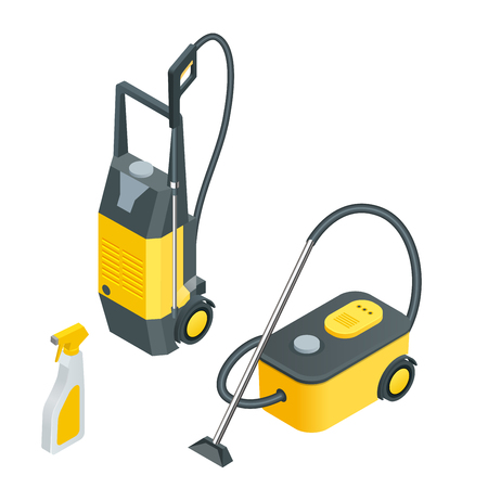 equipment: Car wash tools.Car wash full automatic service facilities with touch less equipment. Flat 3d vector isometric illustration.
