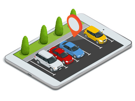 Parking lot displayed on laptop. Wireless device with locater map app device. Vector flat 3d isometric illustration of car park location on tablet internet Icon