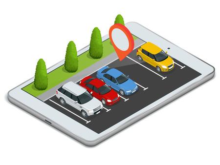 Parking affiché sur un ordinateur portable. Dispositif sans fil avec dispositif locater carte app. Vector plate 3d illustration isométrique de l'emplacement de parking sur tablette Internet Icône