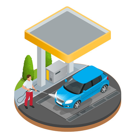water hose: Car wash specialist in uniform washing sedan car under the roof. Spraying water from the hose. Flat 3d vector isometric illustration isolated on white background.