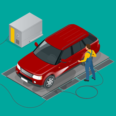 water hose: Car wash specialist in uniform washing sedan car. Spraying water from the hose. Flat 3d vector isometric illustration. Illustration