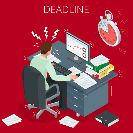 project deadline: Project deadline. Concept of overworked man. Man has burned out on his workplace because of many tasks and deadlines. Flat 3d vector isometric illustration