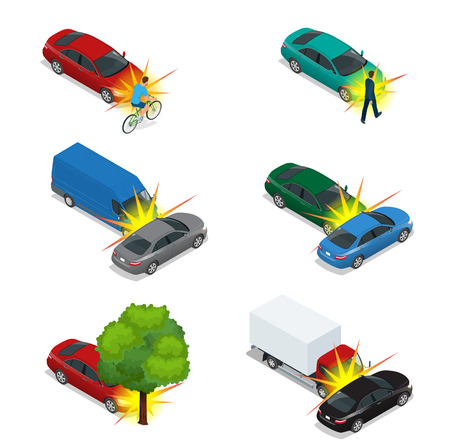 involving: Car crash, emergency disaster. Auto accident involving car crash city street. Flat 3d vector isometric illustration. Illustration